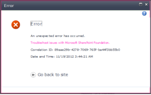 Your typical ShaePoint error message. A tiny bit more helpful with the correlation Id.